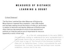 Measures of Distance, learning and doubt (2010)